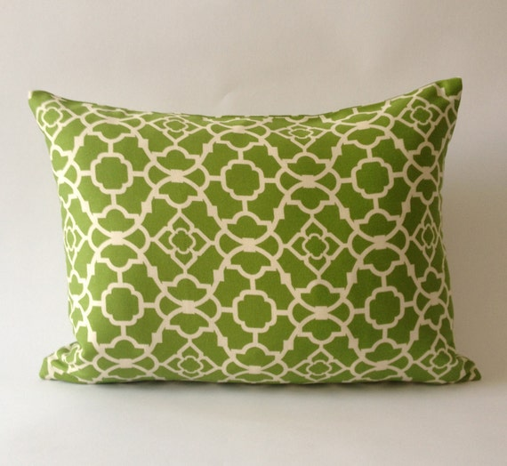 SALE- 12x16 Breakfast Pillow  - Moroccan Print - Decorative Throw Cover - Lime Green and White Cotton Boudoir Pillow
