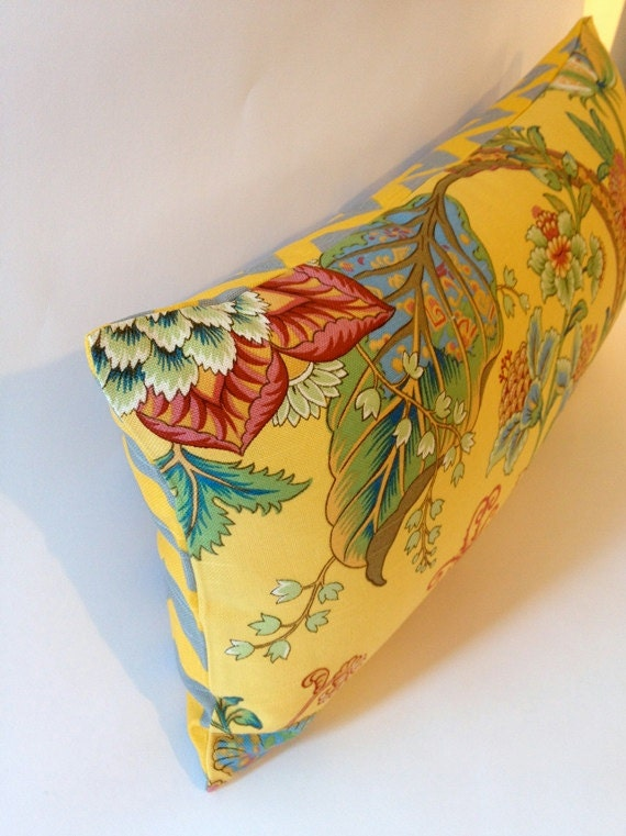 12X24 Decorative Bolster Pillow - Floral Print Design - Finished with Yellow & Gray Chevron Print Backing- Invisible Zipper Closure
