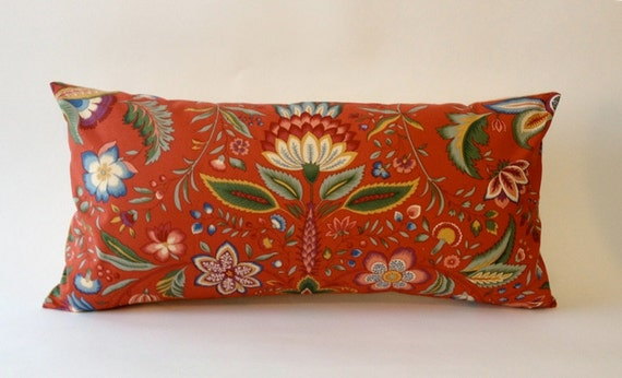Pindler and Pindler 12X24 Decorative Bolster Pillow -Botanical Print and Finished with Solid Cream Beige Backing
