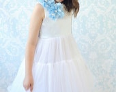 Diamond White and Baby Blue Petti Dress - Flower Girl / Special Occasion - by FabTutus, All Sizes Available