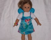 18  inch Doll Clothes American Girl, LITTLE MERMAID SUNDRESS , Top, Fairy Wings, Disney