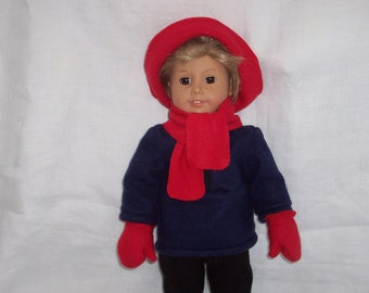 18 inch Doll Clothes American Doll, HAT, SCARF & MITTENS