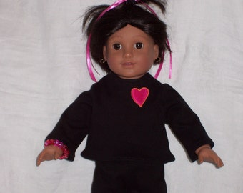 18 inch Doll Clothes American Girl, BLACK KNIT 2 Piece OUTFIT with a heart