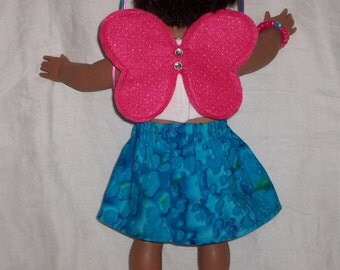 18 inch Doll Clothes American Girl, BLUE Paisly SKIRT, white TOP With  Peace Sign, Fairy Wings