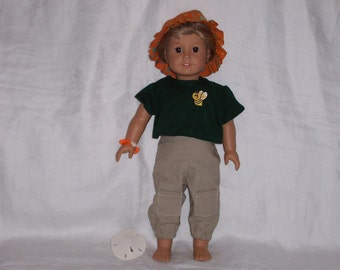 18  inch Doll Clothes American Girl, Kahki CARGO PANTS, Green SWEATER, Hat