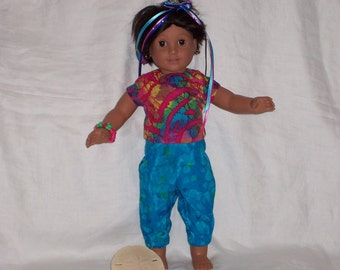 18  inch Doll Clothes American Girl, Tye Dyed CARGO PANTS, and TOP