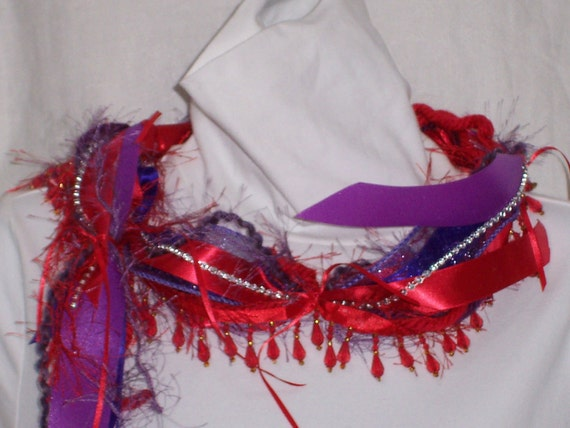 SCARF of RED and PURPLE Ribbons, Red  Beaded Fringe, Red Hat Ladies Society