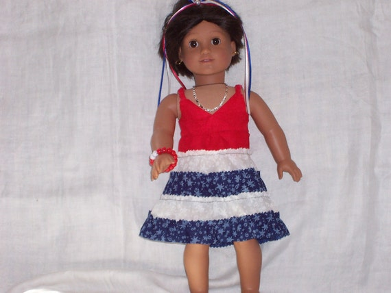 18 inch Doll Clothes American Girl, MAXI DRESS and bottom RUFFLE Skirt