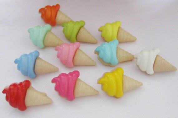 Set of 10 Colorful Adorable Buttons for Kids - ICE-CREAM BUTTONS