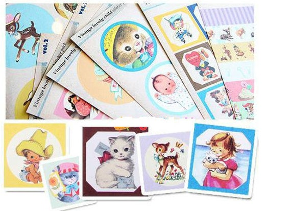 10 Sheets of Vintage Stickers -  Kids, Animals, Cup Cakle, Flowers, etc