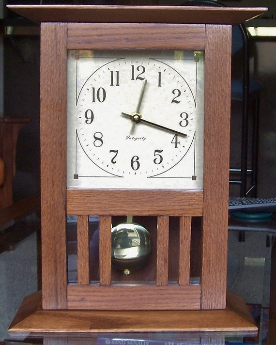Items similar to arts and crafts desk mantel clock with for Arts and crafts mantle clock