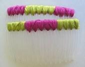 Chartreuse & Magenta Hair Combs