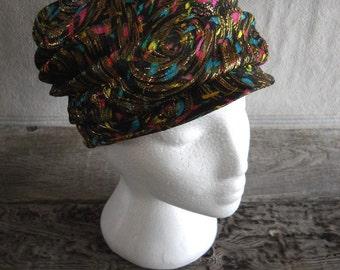 Vintage Valerie Modes Turban Style Brocade Hat