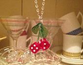 rockabilly Red casino dice cherry dice necklace