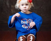 PACKAGE: Football Leg Warmers Leggings with Ruffled Ankles & Football Bow package CUSTOMIZED