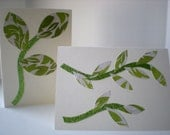 SALE 40% OFF Tropical Leaves 2-Card Set Handmade Branches and Leaves Lime Green Cut Paper