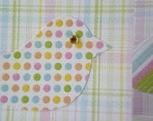 "Handmade Notecards Set of 2 ""Cheerful Chick"" Blank Cards Bird Whimsical Baby Children Pink Green Dot Stripe Plaid"