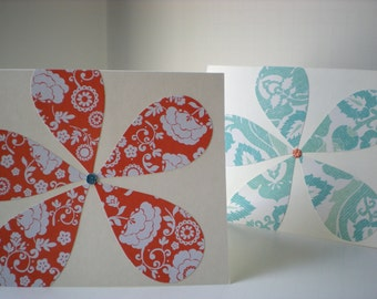 "Handmade Notecards Set of 2 ""Sweet Posies"" Flower Petals Floral Coral Aqua Orange Cut Paper"