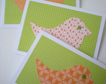 "Handmade Notecards Set of 3 ""Cheerful Chicks"" Bird Lime Green Tangerine Orange Cut Paper"