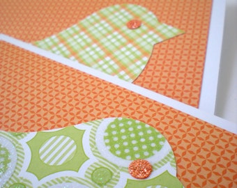 "Handmade Notecards Set of 2 ""Cheerful Chicks"" Bird Tangerine Orange Lime Green Cut Paper"