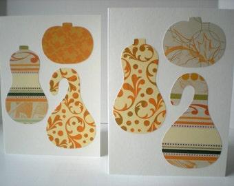 Harvest Medley 2-Card Set Handmade Farmers Market Pumpkin Butternut Squash Gourd Cut Paper