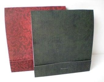 SALE Handmade Memo Pads Set of 2 Jumbo Matchbook Deep Burgundy Dark Green