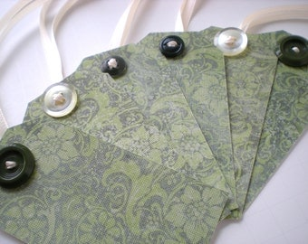 Handmade Gift Tags Set of 6 Vintage Buttons Ivory Green