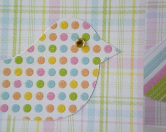 "Handmade Notecards Set of 2 ""Cheerful Chick"" Blank Cards Bird Whimsical Baby Children Pink Green Dot Stripe Plaid"