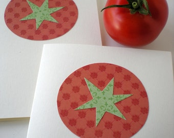Handmade Notecards Set of 2 Tomato Farmers Market Fruit Green Red Hand Cut Paper