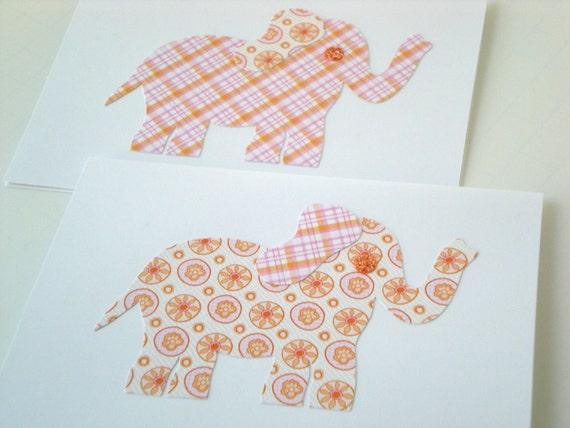 Elephant 2-Card Set Handmade Animal Friendly Lucky Whimsical Orange Pink Flower Plaid Cut Paper