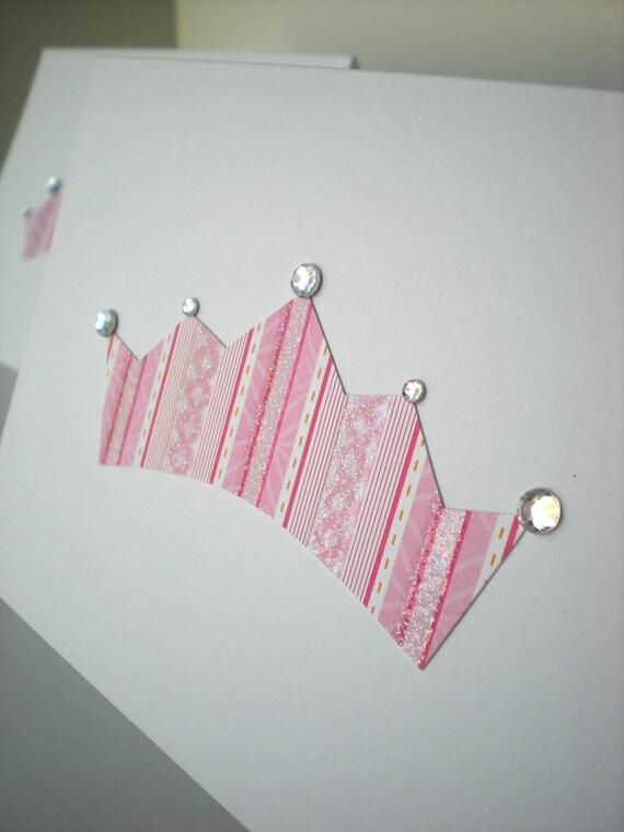 Handmade Notecards Set of 2 Princess Tiara Crown Fairytale Pink White Rhinestone Sparkle Hand Cut Paper