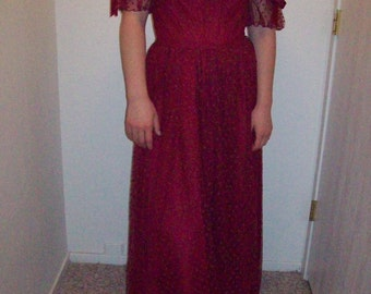 Beautiful 1980's Burgundy Vintage Prom Dress