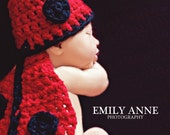 Handmade Newborn Ladybug Critter Cape Photography Prop Crochet Custom