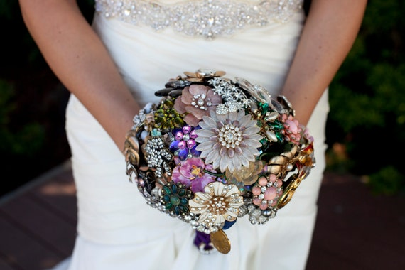 Custom Wedding Brooch Bouquets - Heirloom, Color Theme, Black & White or Colorful