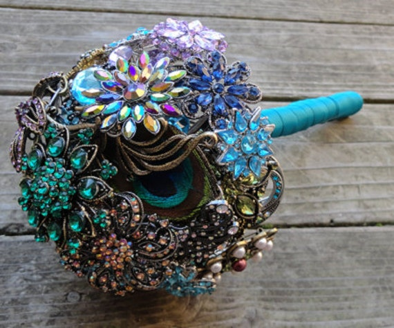 Peacock Wedding Brooch Bouquet with real feathers - Made to Order