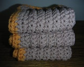 Cotton Washcloths  Set of 3 in Taupe with Tangerine Trim