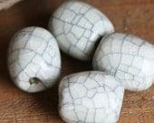 CLEARANCE- Half Price -4 Pcs Raku Drum Handmade Porcelain Beads, White, Size: about 15mmx 13mm, CB-WRB