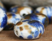 Handmade Beads, Porcelain Beads, Blue and Brown, Flat Round Beads, Ceramic Beads, 16mm, 10 Pieces, CB-FRBB16