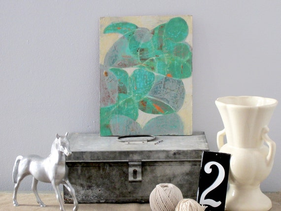 Abstract  - Turquoise, Teal, Gray, Orange  Acrylic Painting