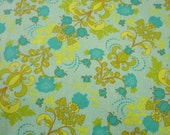02004 - Studio E  Gabrielle Diagonal Floral in Lime and Blue color  1 yard