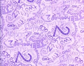 01177-Sale - Jone Hallmark ABC's and 123 in Purple 2 - 1 yard