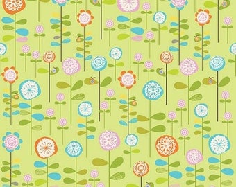 04190  -Deena Rutter for Riley Blake Happier C5502  Garden in green color- 1 yard