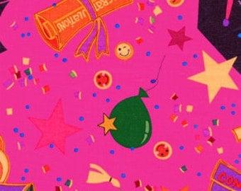 09506 Free Spirit Hallmark Division Graduation Confetti in Fuchsia  fabric 1 yard