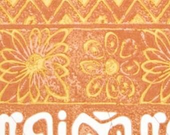09403- Sale - Free Spirit Alfred Shaheen Hawaiian Prints Koko Head Tapa in rust - 1 yard