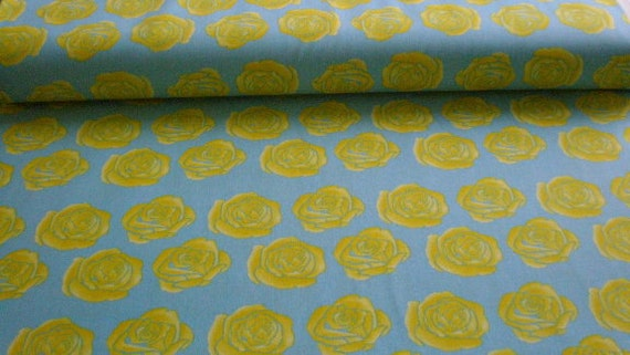 01335 Free Spirit Tina Givens Roses in Blue  color- 1 yard