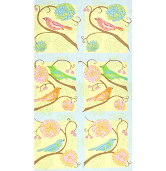 01935  Free Spirit Valori Wells Nest Bird Panel in summer color - 1 yard