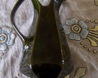 SALE - Vintage Lane Ceramics Olive Green Hi Lustre Serving Pitcher - Hard to find