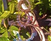 Handmade Wire Wrapped Beaded Drop Hoop Earrings