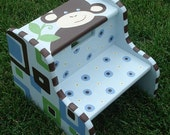 Personalized Step Stool, Customized, Wooden, Two-steps, Hand-Painted- Safari Monkey