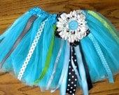 Custom Girls Tutu, blue, ribbons, flower